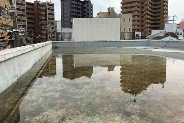 雨水が溜まってしまった屋上
