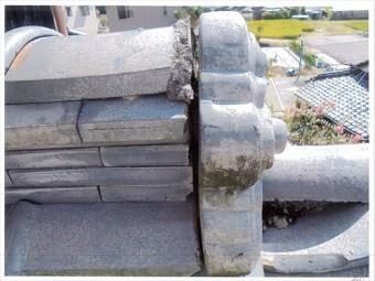 玉野市 雨漏り修理 鬼首漆喰欠落