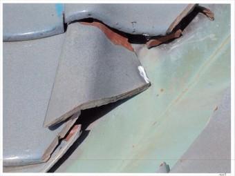 玉野市 雨漏り修理 谷板金の瓦ズレ