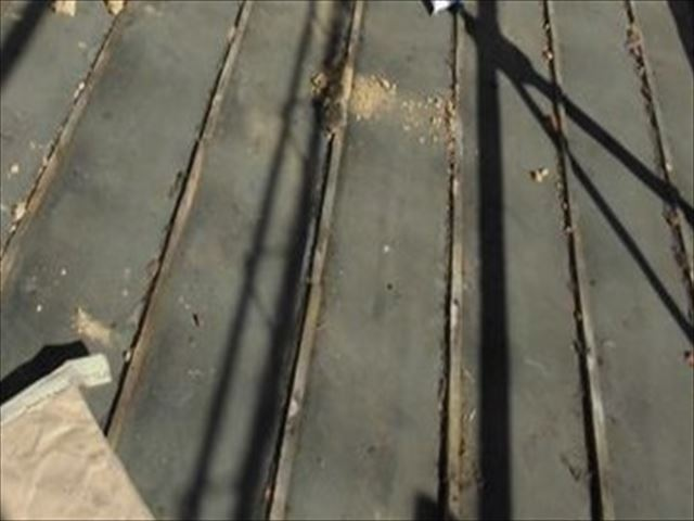 岡山市南区 毛細管現象で雨漏り跡