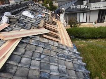 岡山市東区 瓦葺き替え 雨漏り修理 大工工事