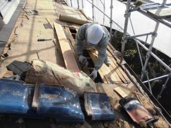 備前市 屋根瓦葺き替え 野地板補修