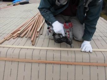 備前市 瓦屋根葺き替え工事 瓦桟打ち