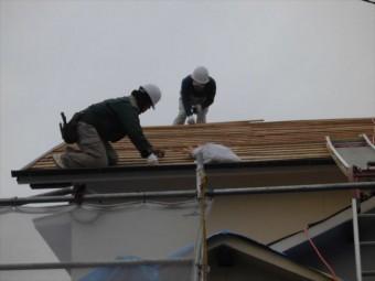 備前市 瓦屋根葺き替え工事 瓦の割り付け