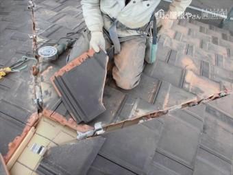岡山市南区 平板防災瓦施工 隅棟カット