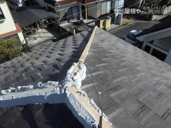 岡山市南区 2階の隅棟 強力棟で南蛮漆喰シルガードを使います。