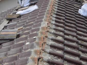 津山市 大崎瓦 棟解体終了 地瓦掃除