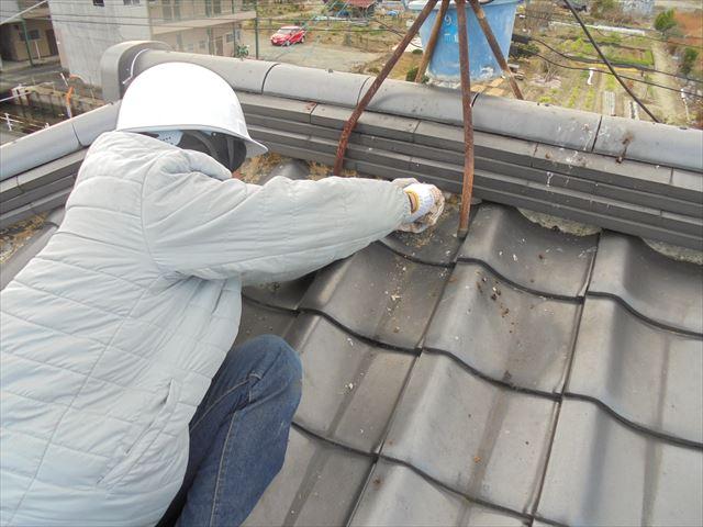 岡山市南区 漆喰入れ替えの工事 工事前