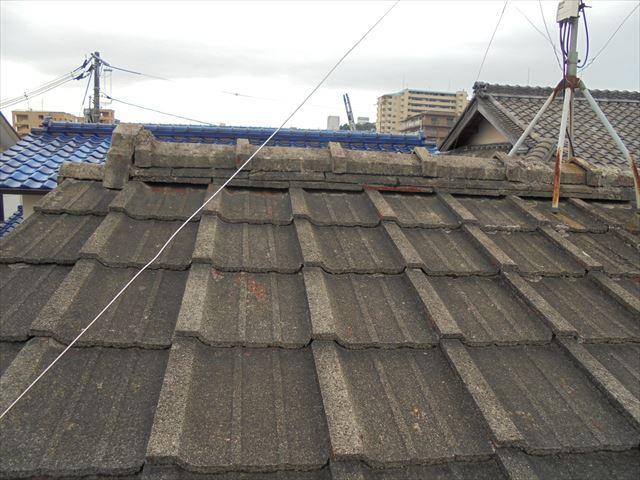岡山市北区 屋根リフォーム セメント瓦 瓦の劣化