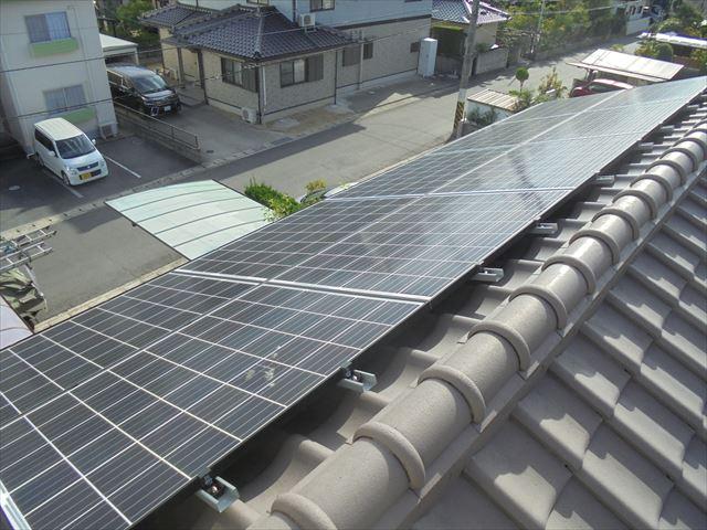 岡山市北区 瓦葺き替え 太陽光システム