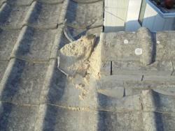 倉敷市で屋根修理 棟の漆喰欠落