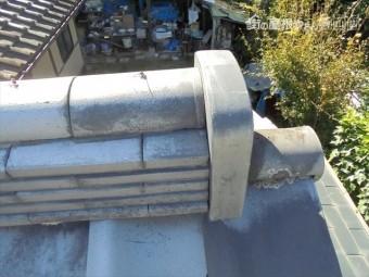 岡山県和気町で屋根修理 鬼首漆喰欠落