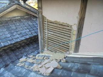 岡山市北区 雨漏り修理 モルタル壁欠落