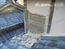 岡山北区 雨漏り点検 モルタル壁脱落
