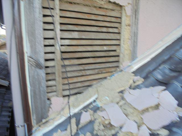 岡山市北区 雨漏り点検 壁のモルタルの剥がれ