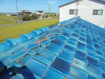 岡山市南区 屋根補修工事 棟の崩れ