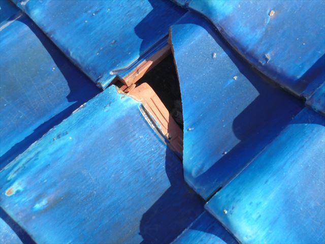 岡山市南区 屋根補修工事 割れ瓦