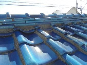 岡山市南区 屋根補修工事 瓦から雨水が