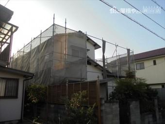 岡山市南区 瓦屋根葺き替え工事 養生足場
