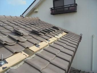 岡山市北区 瓦葺き替え 太陽光システム取り外し