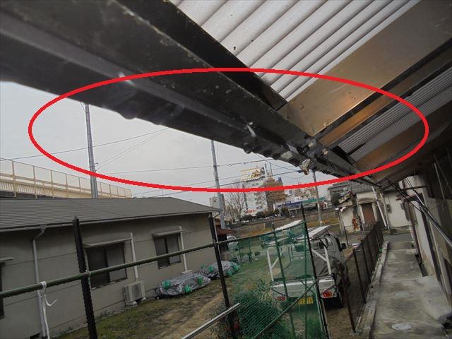 岡山市中区でアルミのテラスから雨漏りするので、雨漏りの点検依頼