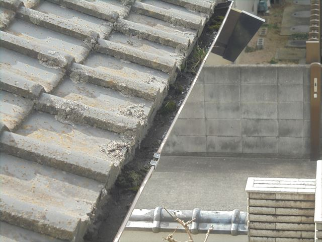 倉敷市 雨樋が詰まりかけています。