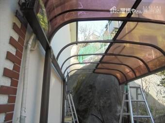 岡山市中区 カーポートの屋根材張り替えアクレル番撤去
