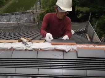 岡山県久米南町 屋根工事 屋根リフォーム 本棟施工中