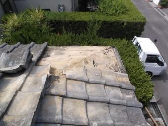 赤磐市 雨漏り修理 棟瓦積み直し 棟解体