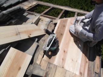 赤磐市 屋根工事 雨漏り修理 野地板張替