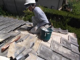 赤磐市 雨漏り修理 棟瓦積み直し 平瓦葺き直し