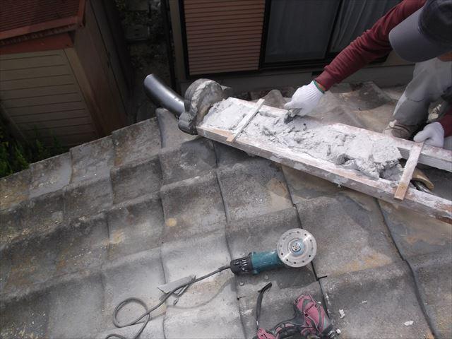 赤磐市 屋根工事 雨漏り修理 隅棟組み立て