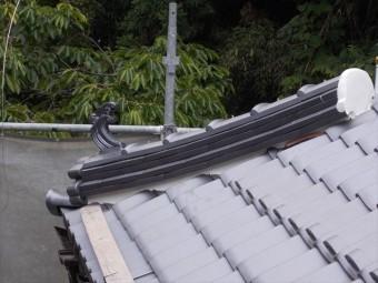 岡山県久米南町 屋根工事 屋根リフォーム 隅棟完工