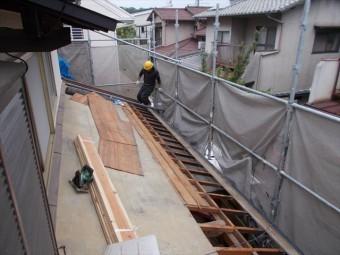 岡山市南区 屋根工事 雨漏り修理 化粧野地板のプリント合板の撤去