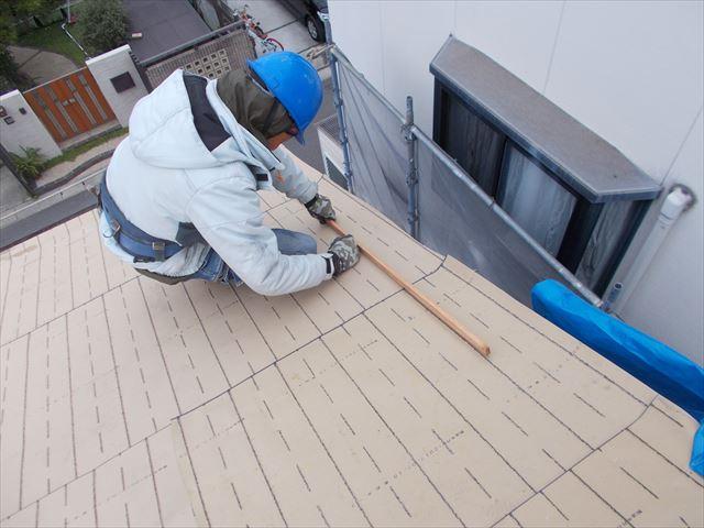 岡山市北区 屋根工事 瓦割り付け