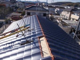 岡山市北区 屋根工事 平瓦施工