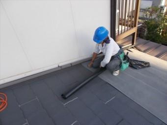 玉野市 屋根工事 カバー工法 粘着性屋根下葺き材エコタック
