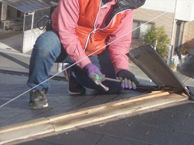 岡山市中区 屋根リフォーム工事 カバー工法 棟板金撤去