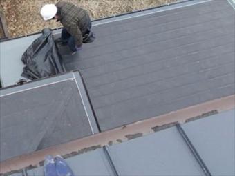 岡山市中区 カバー工法下葺き材施工