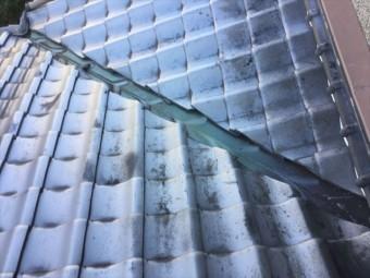倉敷市 雨漏り修理 谷板金に穴