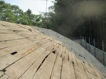 岡山県久米南町 屋根工事 屋根リフォーム 桟木防水紙を取った状態