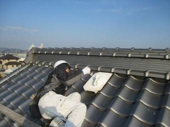 倉敷市 屋根瓦修理 漆喰入れ替えの工事