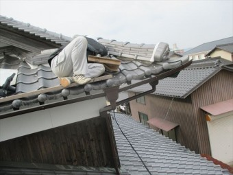 倉敷市 屋根瓦漆喰入れ替え工事 工事の模様