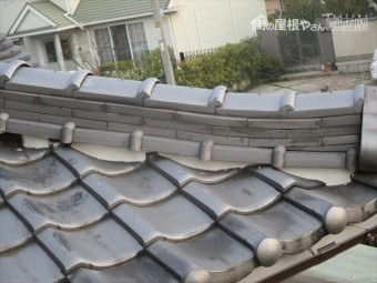 倉敷市 屋根瓦漆喰入れ替え工事 完成した漆喰
