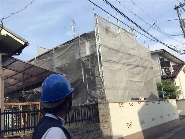 岡山市北区 屋根工事 屋根リフォーム 足場完成
