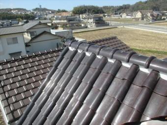倉敷市 屋根修理棟の漆喰入れ直し