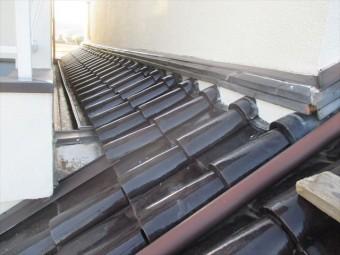 倉敷市 1階の屋根修理棟の漆喰入れ直し