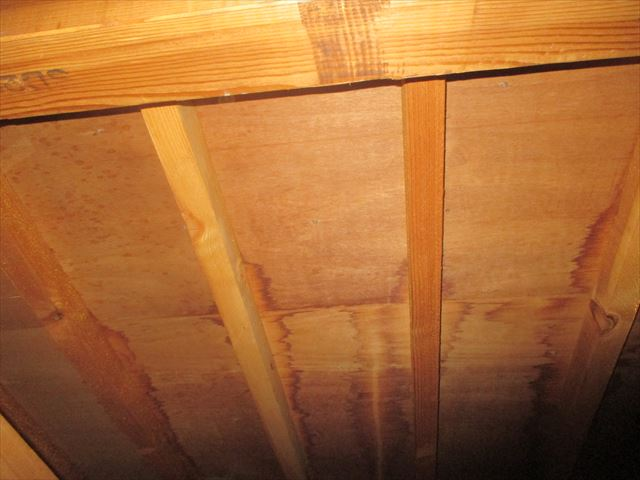 倉敷市で雨漏り修理の点検依頼。軒裏の屋根板に雨漏り跡が付いてます。