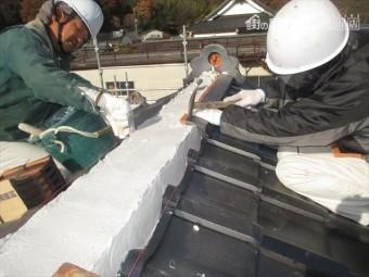 備前市 屋根瓦葺き替え 棟工事