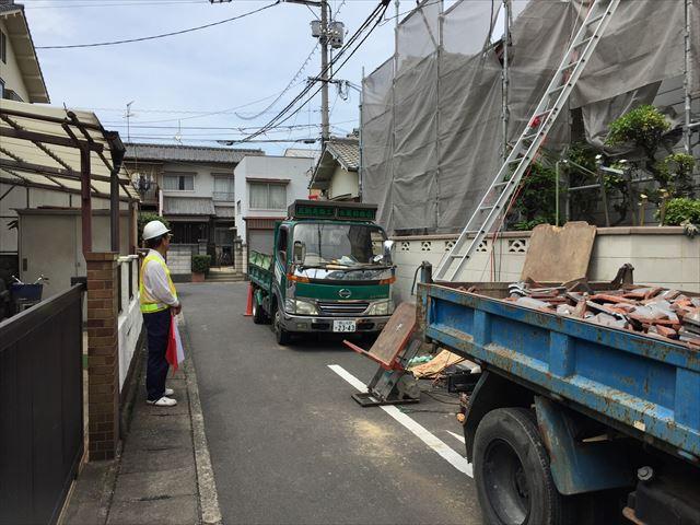 岡山市北区 屋根工事 屋根リフォーム 道路使用許可